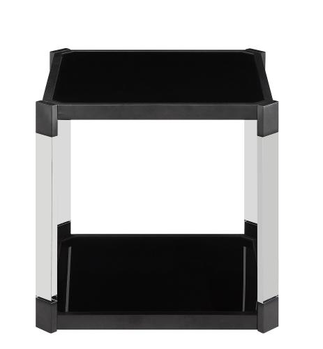 Mehta End Table - Black Glass