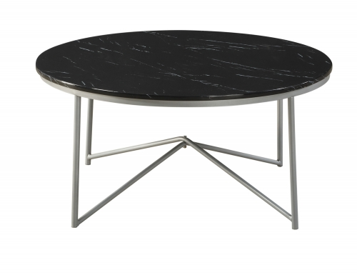 Perivale 3-Piece Cocktail/Coffee Tables - Black Marble - Silver Legs