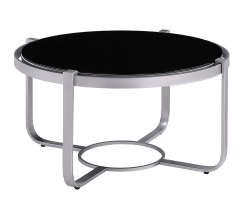 Caracal Round Cocktail Table with Black Glass Insert - Silver