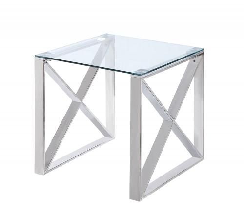 Homelegance Rush End Table with Glass Top - Polished Chrome