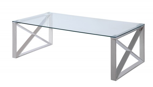 Rush Cocktail Table with Glass Top - Polished Chrome