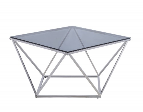 Rex Cocktail Table with Gray Glass Insert - Silver