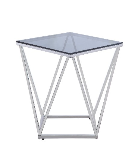 Rex End Table with Gray Glass Insert - Silver