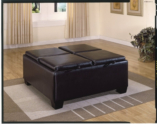 Vega Leather Match Ottoman with 4 Storages