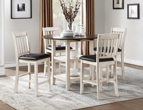 Kiwi Counter Height Dining Set - White Wash - Dark Cherry