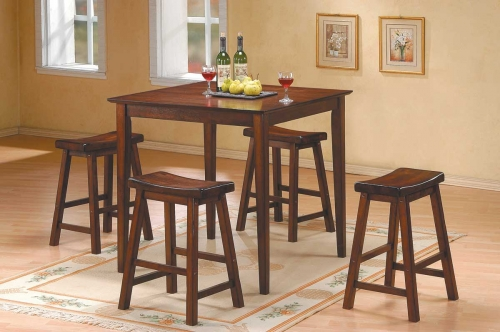 Saddleback 5 Pc Dinette Set in Warm Cherry Finish