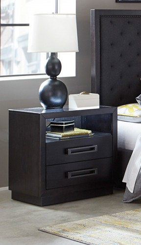 Larchmont Night Stand with LED Lighting - Charcoal Finish over Ash Veneer