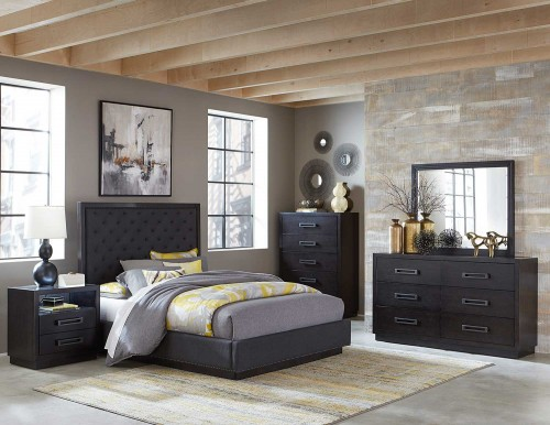 Larchmont Bedroom Set - Charcoal Finish over Ash Veneer