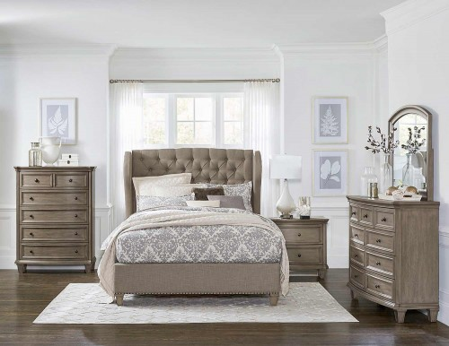 Vermillion Bedroom Set - Bisque Finish with Oak Veneer