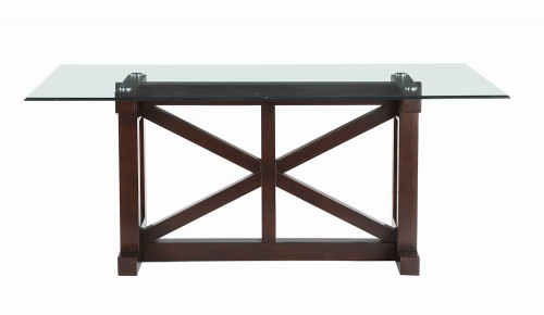 Salema Glass Top Dining Table - Dark Brown