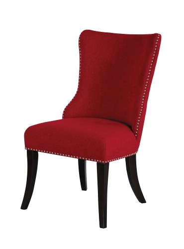 Salema Side Chair - Red - Dark Brown