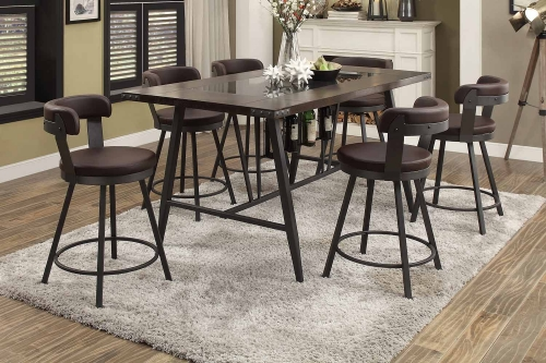 Homelegance Appert Counter Height Dining Set - Brown - Black Bi-Cast Vinyl