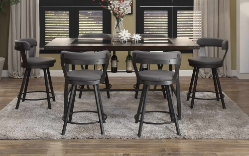 Homelegance Appert Counter Height Dining Set - Grey - Black Bi-Cast Vinyl