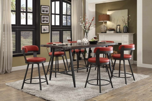 Homelegance Appert Counter Height Dining Set - Red - Black Bi-Cast Vinyl