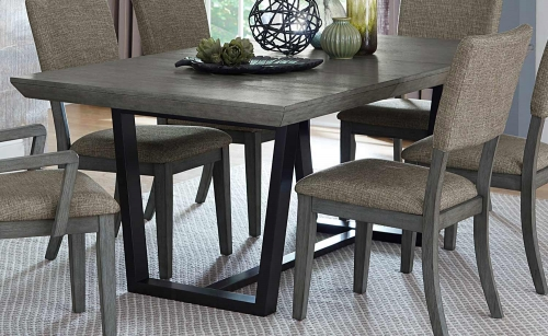 Avenhorn Dining Table - Gray - Black Metal