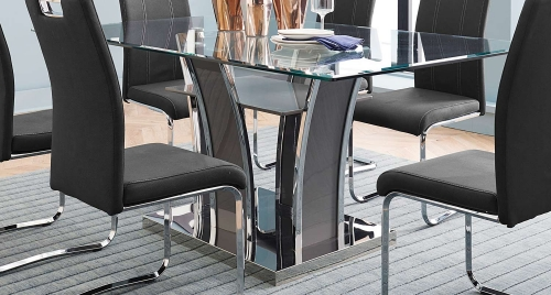 Betmar Dining Table - Chrome and Grey - Grey Bi-Cast Vinyl