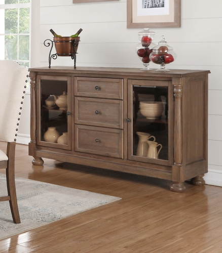 Chartreaux Server with Smoked Glass Doors - Natural Taupe - Smoked Glass