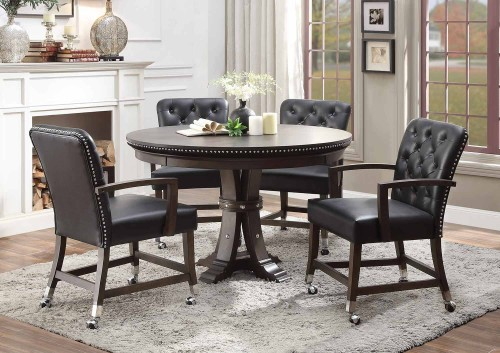 Ante Round Dining/Game Table Set - Dark Brown