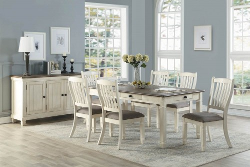 Granby Dining Set - Antique White - Rosy Brown
