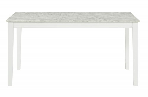 Nadalia Dining Table - Faux Marble Top - White