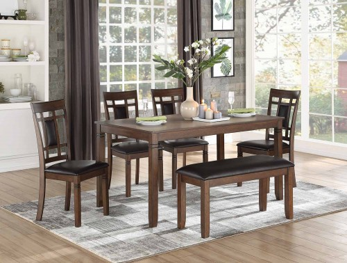 Salton 6-Piece Pack Dinette Set - Bench: 38.5 x 15.5 x 19H
