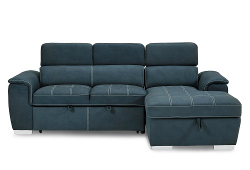 Ferriday Sectional with Pull-out Bed and Hidden Storage Set - Blue