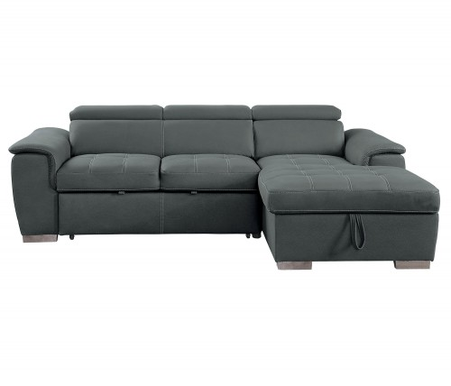 Ferriday Sectional with Pull-out Bed and Hidden Storage Set - Gray