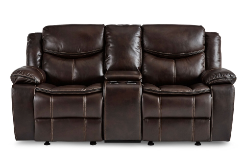 Bastrop Double Glider Reclining Love Seat With Center Console - Dark Brown
