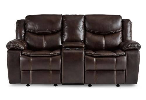 Bastrop Double Glider Reclining Love Seat With Center Console - Dark Brown