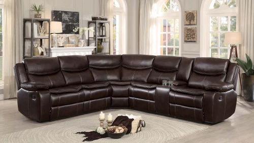 Bastrop Reclining Sectional Sofa - Dark Brown