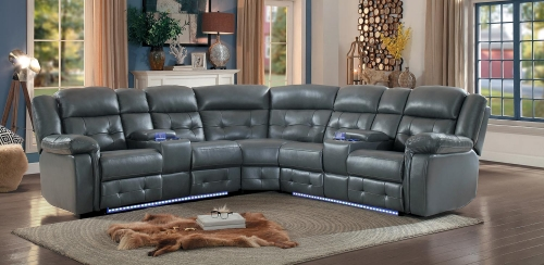Kalmar Power Sectional Sofa - Gray Leather