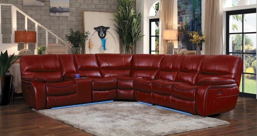 Pecos Power Sectional Sofa Set - Red