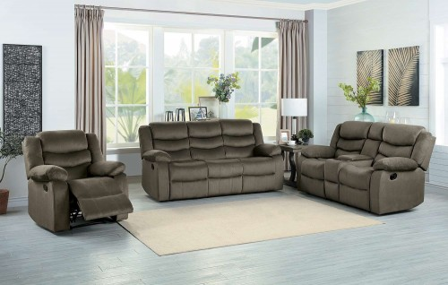 Discus Reclining Sofa Set - Brown