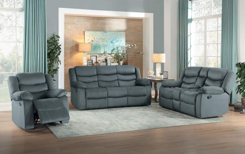 Discus Reclining Sofa Set - Gray