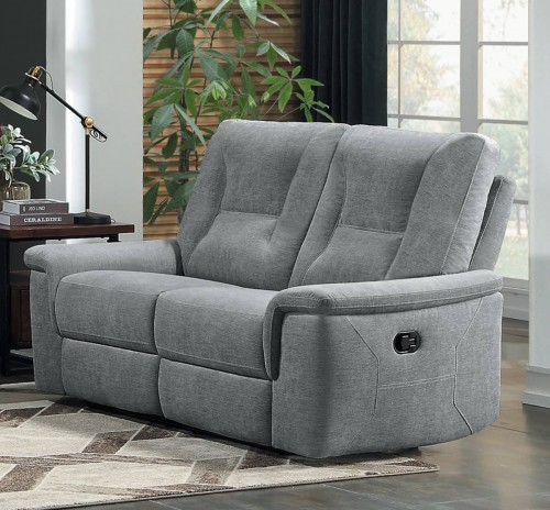 Edelweiss Power Double Reclining Love Seat - Metal gray