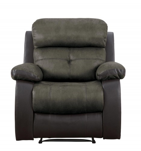 Acadia Reclining Chair - Brown microfiber and bi-cast vinyl