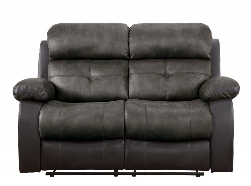 Acadia Double Reclining Love Seat - Brown microfiber and bi-cast vinyl