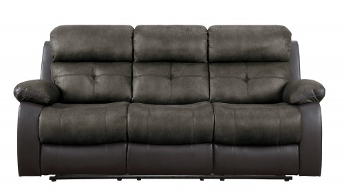 Acadia Double Reclining Sofa - Brown microfiber and bi-cast vinyl