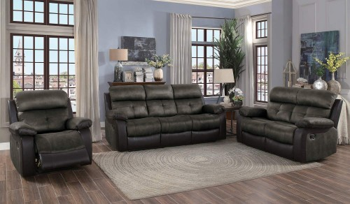 Acadia Reclining Sofa Set - Brown microfiber and bi-cast vinyl