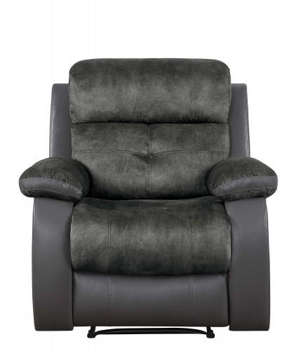 Acadia Reclining Chair - Gray microfiber and bi-cast vinyl