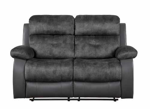 Acadia Double Reclining Love Seat - Gray microfiber and bi-cast vinyl