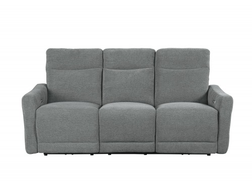 Homelegance Edition Power Double Lay Flat Reclining Sofa with Power Headrests - Dove