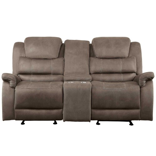 Shola Power Double Reclining Love Seat with Center Console and Power Headrests - Brown