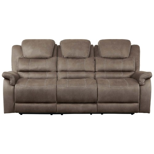 Shola Power Double Reclining Sofa with Power Headrests, Drop-Down Cup holders and Receptacles - Brown