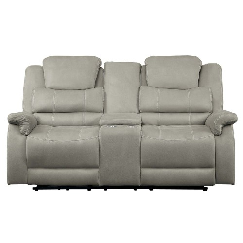 Shola Power Double Reclining Love Seat with Center Console and Power Headrests - Gray