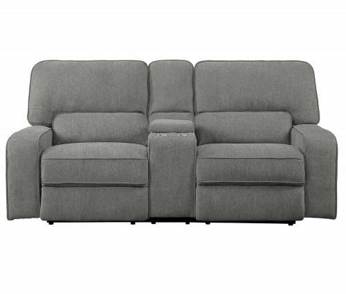 Borneo Power Double Reclining Love Seat with Center Console and Power Headrests - Mocha