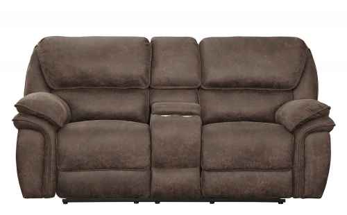 Hadden Power Double Reclining Love Seat With Center Console - Dark Brown