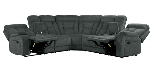 Rosnay Reclining Sectional Sofa - Gray