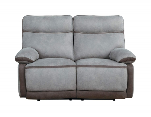 Barilotto Power Double Reclining Love Seat With Power Headrests - Gray