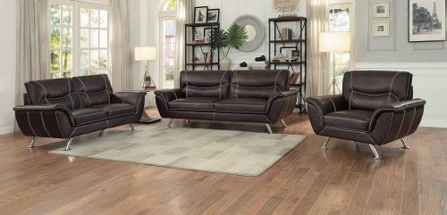 Jambul Sofa Set - Dark Brown - Dark brown bi-cast vinyl